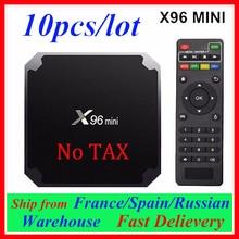Decodificador de señal con WiFi, 10 Uds., X96mini, dispositivo de TV inteligente, X96 Mini, Android 7,1, Amlogic S905W, 2,4G