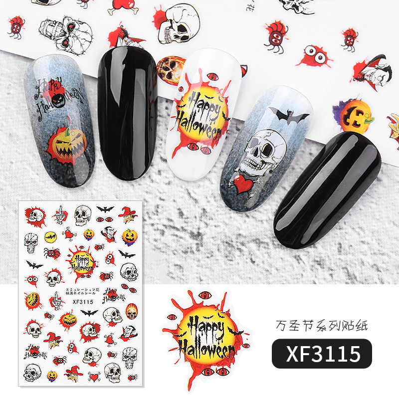 Halloween Nail Art Stickers Bat Witch Pumpkin Design Water Transfer Sliders Decals For Nail Sticker 3D Tips Manicure Decorations