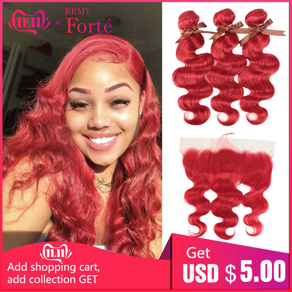 Remy Forte Body Wave Hair Bundles With Closure Red Bundles With Frontal Remy Brazilian Hair Weave Bundles 3/4 Red Hair Bundles