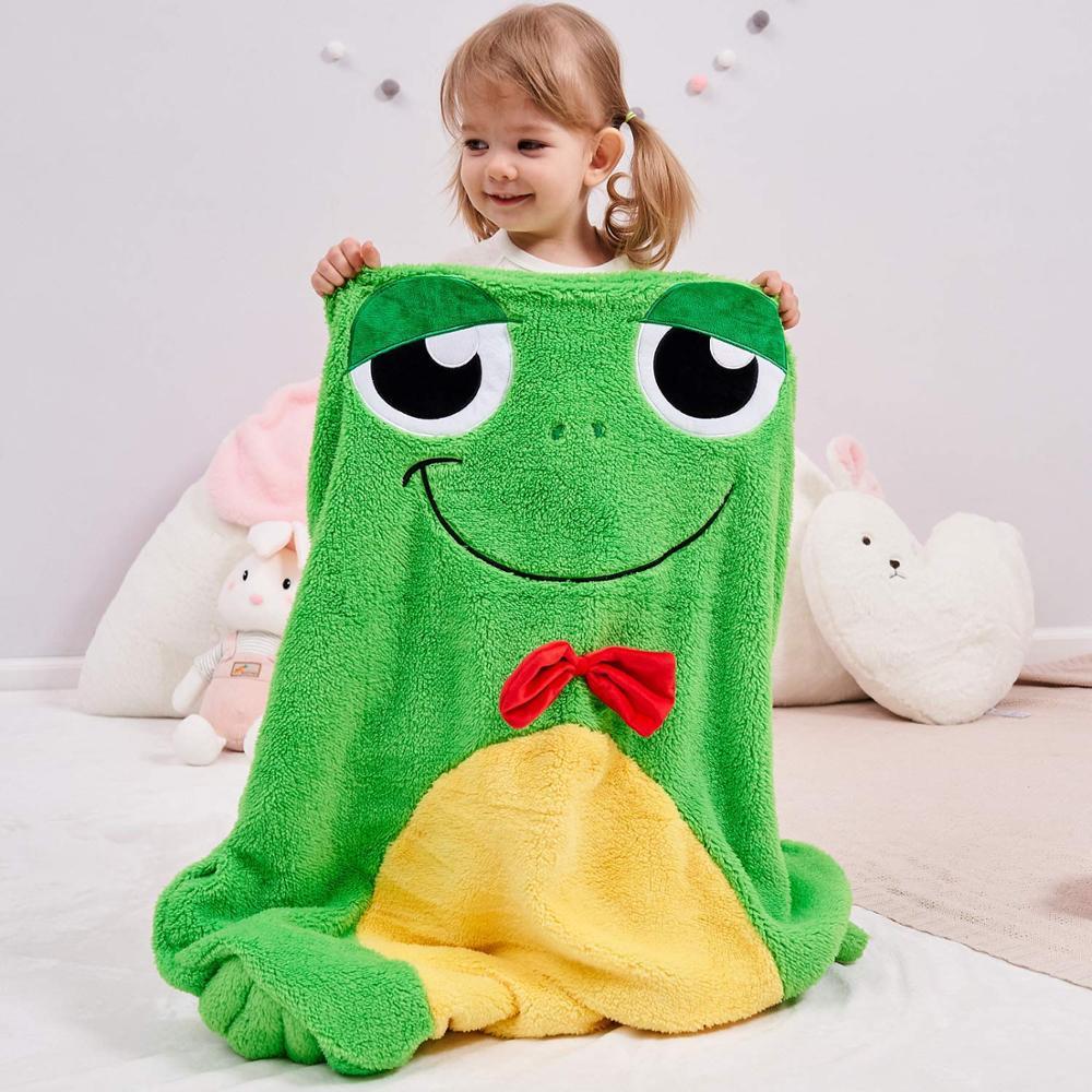 Couverture de grenouille confortable pour enfants doux en peluche polaire couverture sac de couchage poche Style couverture sac de sommeil avec motif Animal 3D