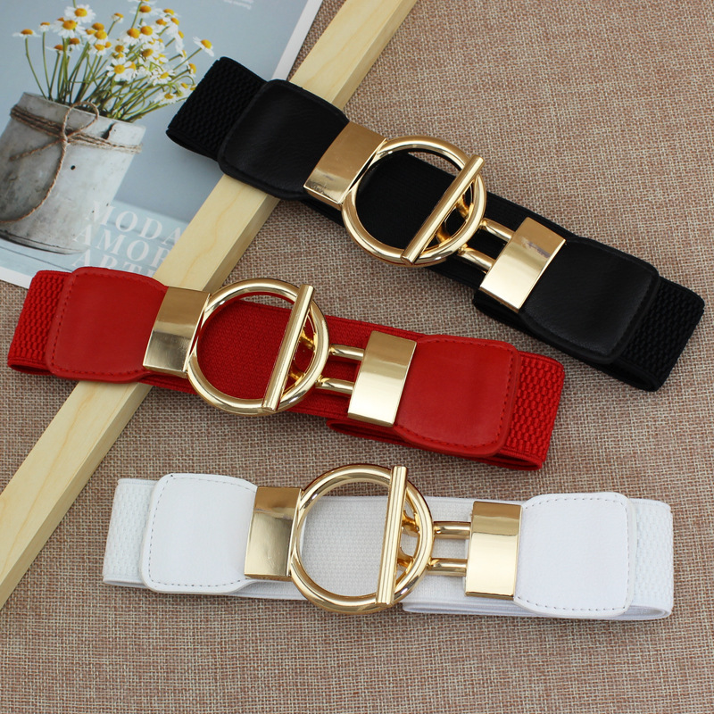 Designer Luxury Fashion Girl Elastic Belt New Dress Skirt Elastic Wide Waist Seal Gold Round Buckle Women's Decorative Belts