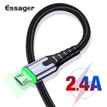 Essager LED Micro USB Cable Fast Charging Data Wire Cord 2m 3m Microusb Charger Cable For Samsung Xiaomi LG Android Mobile Phone(China)