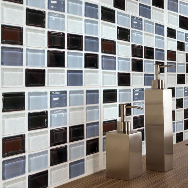 6Pcs PVC Mosaic 3d Stereo Self-adhesive Wall Sticker Wallpaper Tile Sticker Waterproof Sunscreen Non-toxic Environment Protected