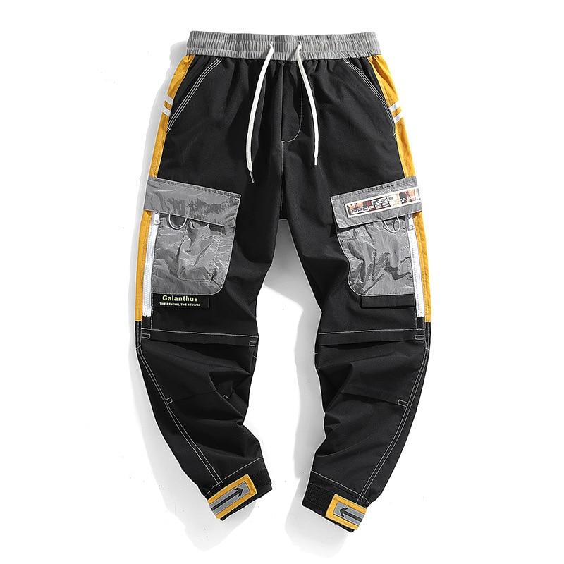 #2206 Summer Japanese Streetwear Trousers Cargo Pants Men Loose Elastic Waist Thin Pencil Harem Hip Hop Pants With Side Pockets
