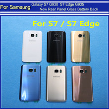 New Rear Panel Glass Battery Back Cover For Samsung Galaxy S7 G930 G930F G930FD S7 Edge G935 G935F G935FD + Stickers Camera Lens