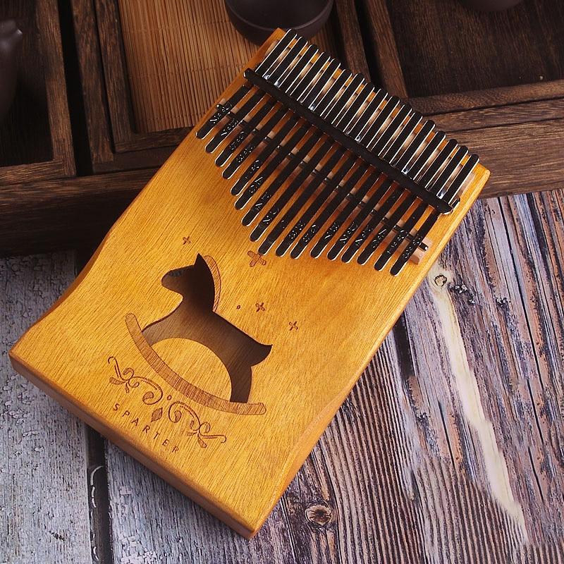 17 Keys Kalimba African solid Mahogany Thumb Piano 17 keys Solid Wood Kalimba Musical Instrument High Quality Wood Finger Piano-in Piano from Sports & Entertainment