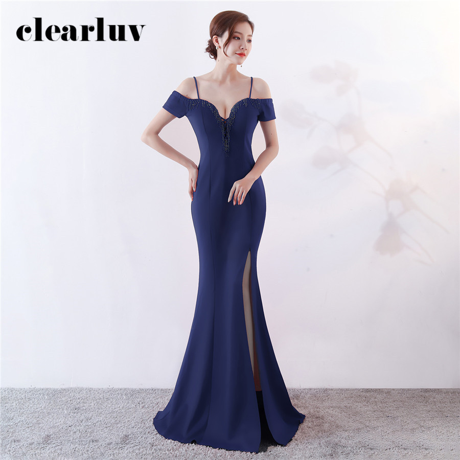 Split Formal Evening Dress New Boat Neck Robe De Soiree DX343-5 Plus Size Long Mermaid Prom Dress 2020 Sexy Sling Evening Gowns