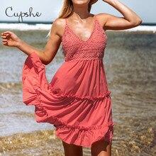 CUPSHE seksi Ruffled TiersV boyun spagetti kayışı kolsuz Cupcake elbise 2020 plaj katı tığ Vestidos kadınlar yaz Sundress