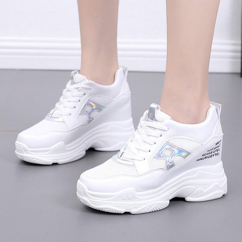 Taille 35-50 belle nouvelle Bling lettre R chaussures femme Heigh augmentant les talons été femmes espadrilles décontractées collège filles Cool chaussures