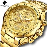 Wwoor Sport Militaire Horloges Mannen Top Brand Luxe Goud Volledige Staal Waterdicht Analoge 24 Uur Quartz Horloge Relogio Masculino