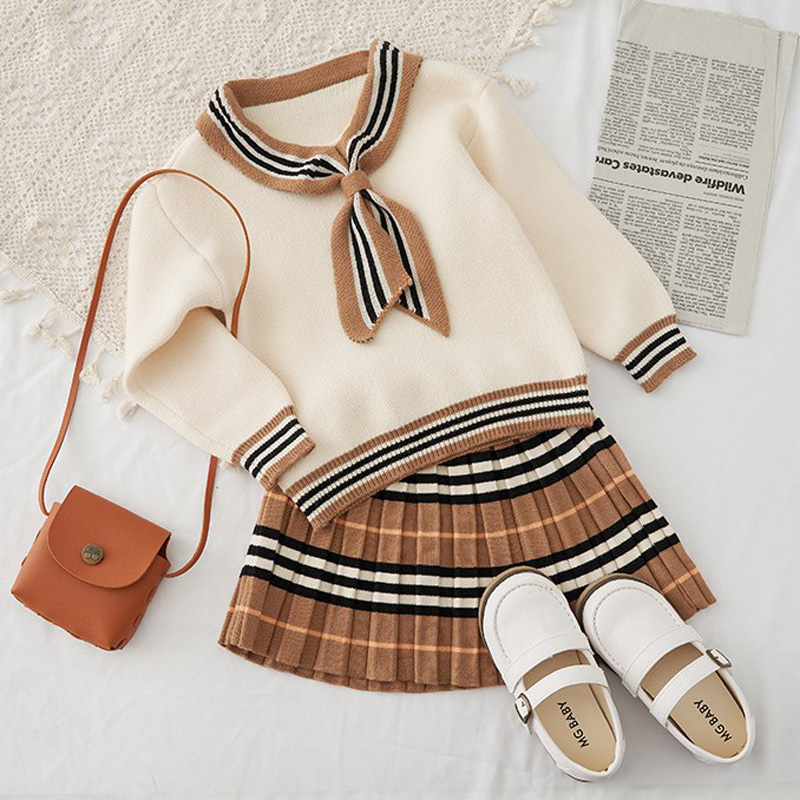 2021 Autumn New Arrival Girls Knitted 2 Pieces Suit Top+skirt  Kids Clothing  Girls Clothing 4