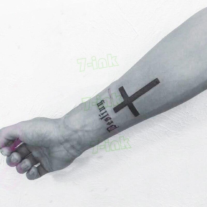 Fashion Women Men Temporary Tattoo Cross Roman Numerals Body Art Middle Size Fake Tatoo Flash Tattoo Sticker For Men Women