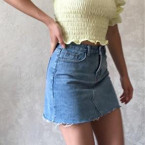 Image 2 - Hzirip Summer Fashion High Waist Skirts Womens Pockets Button Denim Skirt Female Saias 2020 New All matched Casual Jeans Skirt