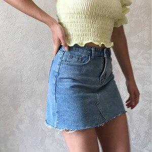 Image 2 - Hzirip jupes jean femme taille haute, jupes jean assorties, nouvelle mode 2020, avec poches, boutons, été Jeans décontractés