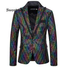 New Men's Sequin Blazers New Fashion Jackets Slim Fit Suit Jacket Singer Host Stage Dress Costumes Night Club Casual Blazer