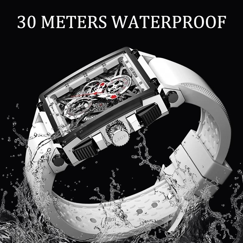 2021 New Men Watches LIGE Top Brand Luxury Waterproof Quartz Square Watch For Men Date Sport Hollow Clock Male Relogio Masculino