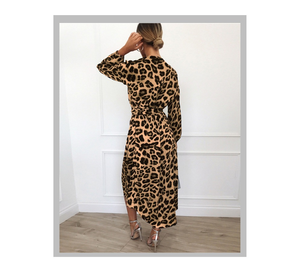 Leopard Dress 2020 Autumn Women Chiffon Long Beach Dress Lady Loose Long Sleeve Deep V Neck Sexy Party Dress Vestido de Fiesta