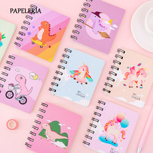 Mini Notebook Kawaii Dinosaur Unicorn A7 Notebook 80 Page Paper Notepad Diary Writting Paper Office School Supplies Stationery 100% high quality travelers notebook fiiler paper 3 types page paper 3 size page paper for travel notebook change school supplie