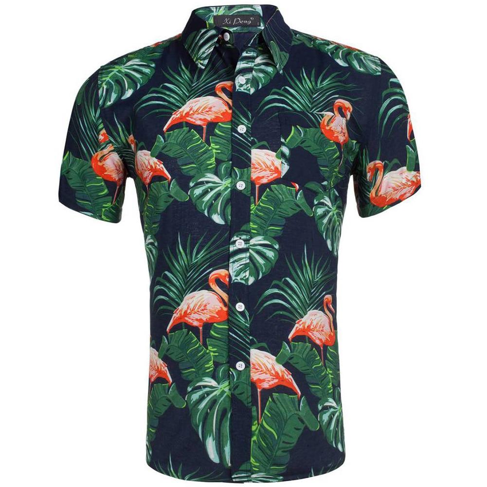 Summer Hawaiian Male Short Sleeve Shirt Cotton Flamingos Floral Printed Dress Shirts Casual Men's Clothing Fashion US Size BX346