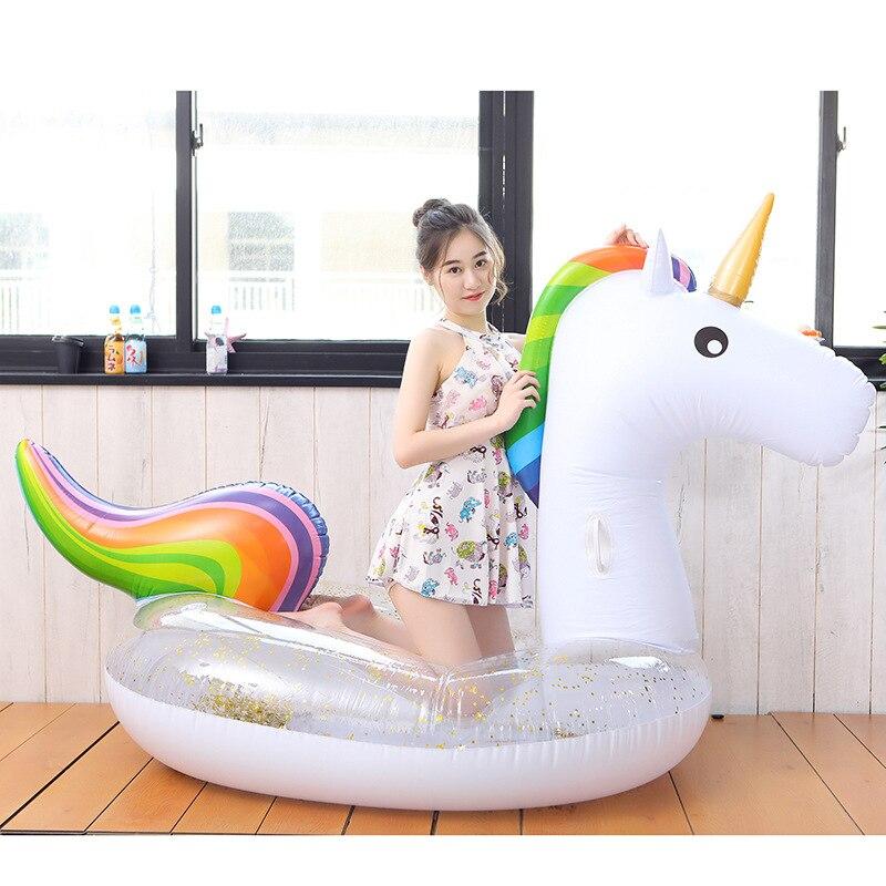 Anneau gonflable géant de natation de licorne de paillettes anneau gonflable de flotteur de piscine flottant gonflable nageant des jouets adultes de l'eau