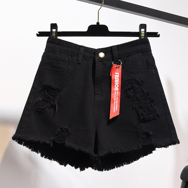 High waist denim shorts female summer 2021 new Fashion Korean style loose Button Jeans women's Leisure Hole Wide leg Hot Shorts 5