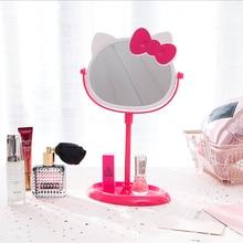 Креативное розовое милое настольное зеркало для макияжа для девочек, настольное косметическое зеркало принцессы для хранения ювелирных изделий