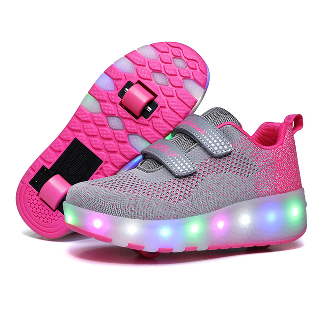 Children Two Wheels Luminous Glowing Sneakers Black Red Pink Led Light Roller Skate Shoes Kids Led Shoes Boys Girls USB Charging 1