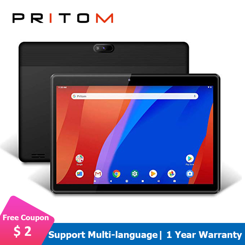 PRITOM M10 Android Tablet 10.1 Inch 2GB 32GB ROM Tablet Android 9.0 Quad Core WiFi HD IPS Screen 2.0MP+8.0MP Camera Tablets PC
