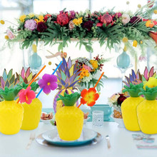 1Pcs Plastic Hawaiian Beach Party Kokosnoot Ananas Drink Cup & Stro Decoratie Rietje voor Party Verjaardag Decor(China)