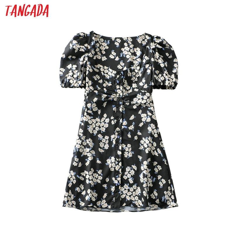 Tangada Fashion Women Flowers Print Mini Dress For Summer Short Sleeve Ladies Vintage Beach Chiffon Dress Vestidos 6A146