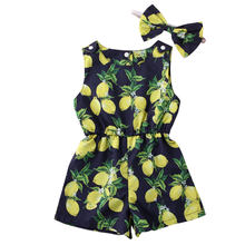 Summer Watermelon Jumpsuit New Clothing Baby Girls Romper Sleeveless Tops Fruit Pants Headband 2Pcs Sets Outfits(China)