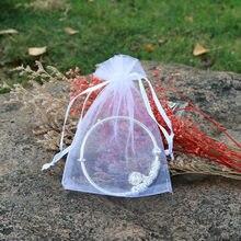 50 pçs saco de organza jóias embalagem presente doces festa de casamento goodie embalagem favores drawable presente sacos doces malotes
