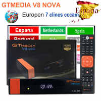 Gtmedia v8 nova DVB-S2 freesat v8 receptor de satélite h.265 built-in wifi + 2 ano europa espanha cccam para receptor v8 nove youtube