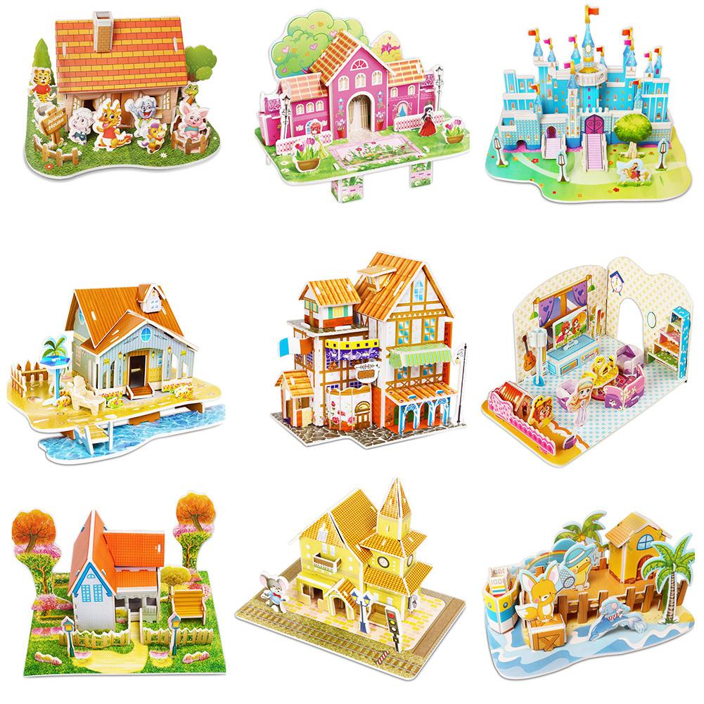1Set DIY 3D Jigsaw Puzzles Assemble Model Building Castle Educational Kids Toys New