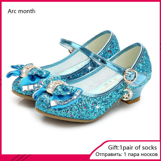 2020 Princess Kids Leather Shoes for Girls Flower Casual Glitter Children High Heel Girls Shoes Butterfly Knot Blue Pink Silver