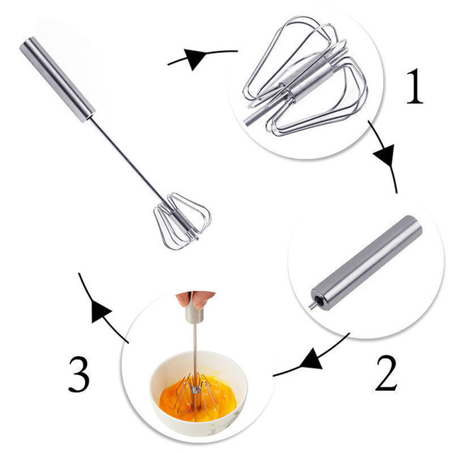 Egg Beater Stainless Steel Manual Mixer Semi-Automatic Egg Whisk Cream Mixer Suitable For Kitchen Baking Cooking Tools
