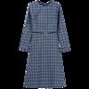 Vimly 2020 Autumn Winter Plaid Elegant Dress Office Lady O-neck High Waist Belt Zipper Knee Length Female A-line Dresses 95879 5