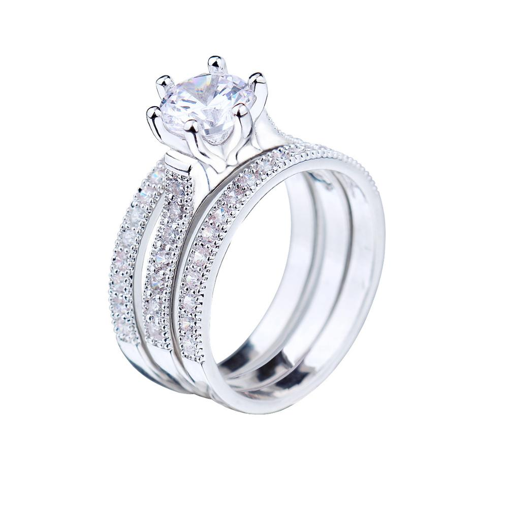 Chran Classic Silver Plated Cubic Zircon Wedding <font><b>Rings</b></font> for Women Elegant 3 Pave Finger <font><b>Couple</b></font> <font><b>Rings</b></font> Jewelry Accessories image