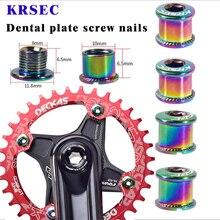 KRSEC 4 Pair Nail Plate Dental Screws Steel Chainwheel Bolts Colorful MTB Road Bike Bicycle Crank Bolt