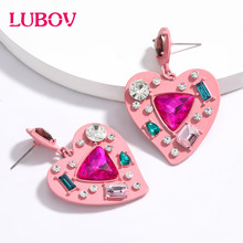 LUBOV 2020 Vintage Women Heart Shape Cute Drop Earrings New Fashion Pink Color Love Statement Small for