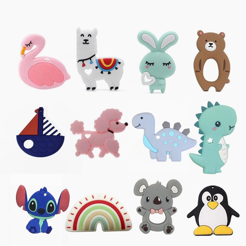 BPA Free Silicone Teether Koala Sheep Bee Teething Beads Baby Teether Animal Rabbit Chewing Toy Nursing Product 1PC Dropshipping