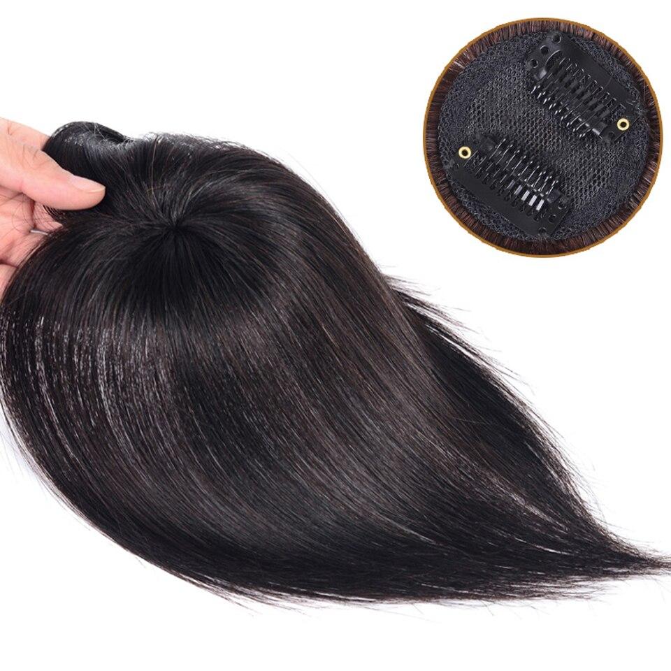 mão natural preto topper hairpiece com estrondo