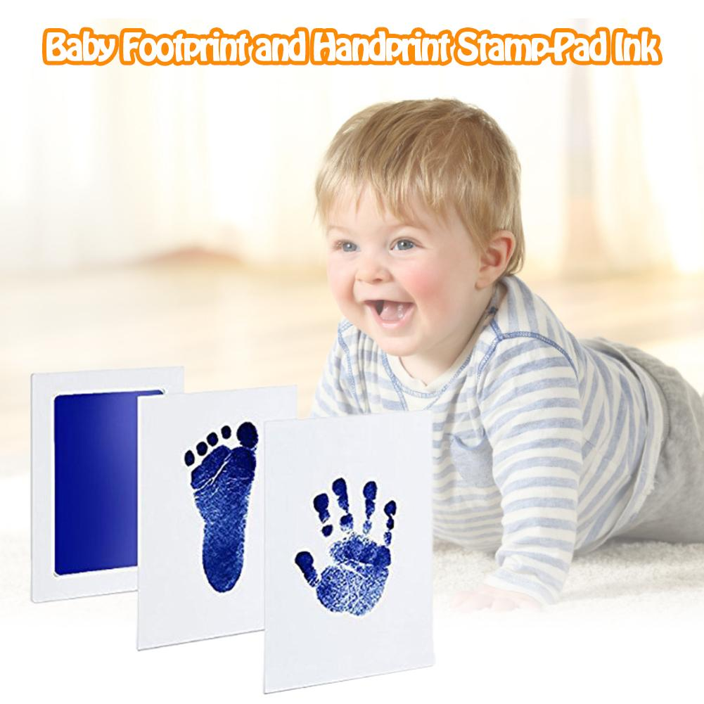 Large Baby Disposable Wash Pad Non-Toxic Baby Footprints Handprint Kit Family Souvenir Baby Shower Gift Imprint Card Set Family