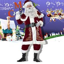 8 шт Для мужчин Рождество Санта Клаус костюм Одежда Косплей Карнавальный костюм с длинным рукавом Костюм с рождественским рисунком для взрослых casa de papel disfraz# 3F