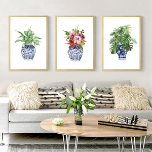 Chinoiserie Art Print Ginger Jar Blue White Porcelain China Ming Vase Wall Art Canvas Painting Poster Watercolor Floral Decor(China)