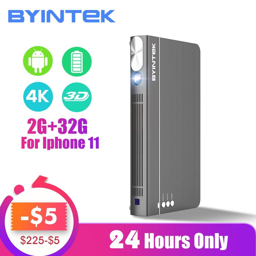 BYINTEK UFO P12 300 pollici 2019 I Più Nuovi Smart 3D Full HD 4K 5G WIFI Android Pico Portatile Micro mini HA CONDOTTO il Proiettore DLP per Il Iphone 11