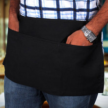 Black Waterproof Half Apron Catering Baking Bar Hotel Waiter Kitchen Home Apron 3 Pocket Ladies Mens Cotton Short Waist Chefs(China)