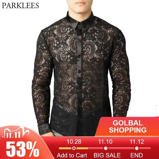 Malha masculina ver através fishnet clubwear camisas fino ajuste manga longa sexy camisa de renda masculina festa evento baile de formatura transparente chemise 2xl