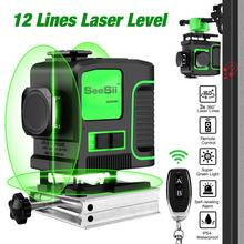 Laser Level 12 Lines 3D Level Self-Leveling 360 Horizontal And Vertical Cross Super Powerful Green Laser Level +Remote Control new electronic leveling green laser level 3d line meter remote control operation