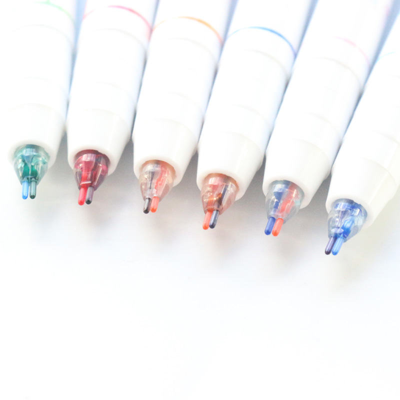 Domikee Cute Candy Koran School Student Colored Plastic Gel Pens Fine Kids 2 Colors Gel Pen Art Stationery Supplies 0.5mm